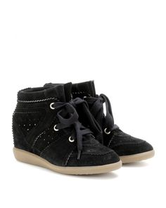 Isabel Marant Bobby Suede Wedge Sneakers Trainers Black - Isabel Marant #isabelmarant #shoes #sneakers #women #womenfashion #newyear #fashion #gifts