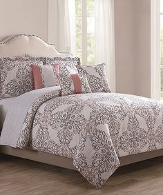 Look what I found on #zulily! Coral & Gray Gloria Reversible 10-Piece Comforter Set #zulilyfinds