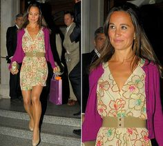 Pippa in purple cardigan with the flower print dress by French label Maje