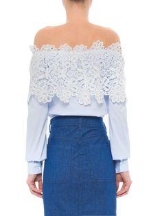 Cropped Pala Com Renda - Iorane - Azul - Shop2gether