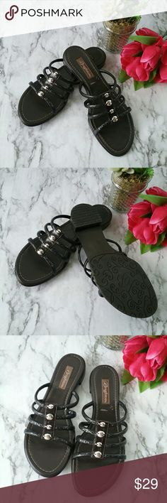 BRIGHTON Odyssy Black Silver Sandals 10M Pair of Brighton Odyssey style black and silver sandals. They are size 10 m. They are in like-new Brighton Shoes Sandals