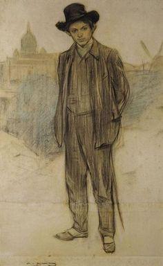 Retrat de Pablo Picasso.  1900 Ramon Casas i Carbo.