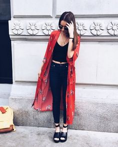 Instantly elevate a basic look with a long printed kimono
