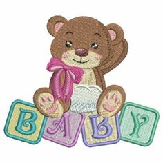 Baby Blocks Bear embroidery design
