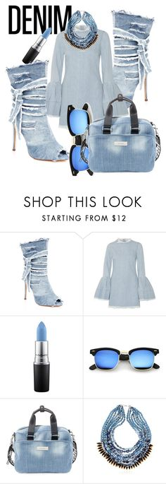 """All Denim, Head to Toe"" by emmmy88 ❤ liked on Polyvore featuring Liliana, Marques'Almeida, MAC Cosmetics, Steve Madden and NIGHTMARKET"