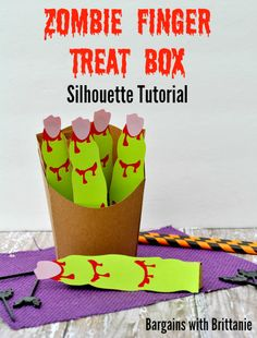 Zombie Finger Treat Box Silhouette Tutorial Bargains with Brittanie