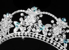 Gorgeous Quince tiara with aqua blue stones!