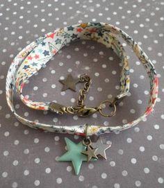 Collier tissu les étoiles  Mimischkä