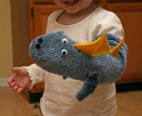 Dinosaur sock puppet-How do Dinosaurs...story hour!
