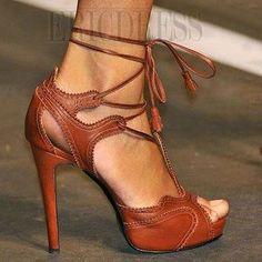 $ 60.69 New Arrival Elegant Brown High Heel Summer Sandals
