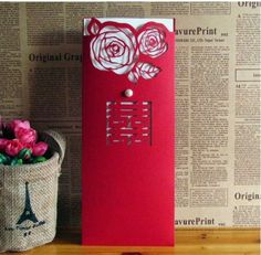 Chinese Traditional Handmade Creative & Customizable Greeting Card Wedding Invitation Card In Red With Rose Cut out 30PCS-in Crafts from Home & Garden on Aliexpress.com