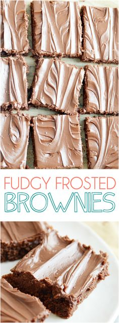 Rich and fudgy homemade brownies completely from scratch topped with a decadent chocolate frosting. You'll never reach for a box mix again!