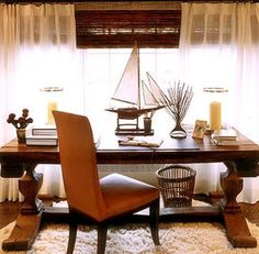 Love This Wooden Sailboat Model On A Leather Top Desk! #modelship # Officedecor. Nautical ...