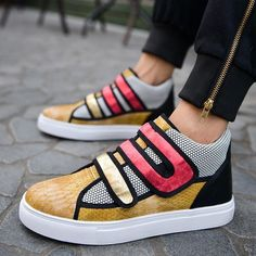 Shoespie Contrast Color Patchwork Round Toe Men Sneakers