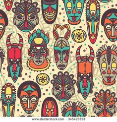 seamless pattern with tribal african masks, vector illustration