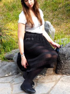 Balletic - outfit of plain grey t-shirt, long, floaty, sheer black skirt, with black tights and ballet flats