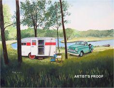 vintage 1961 Metzendorf travel trailer RV art 1958 Chevy Apache pick up truck Paige Bridges