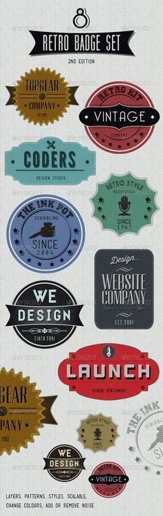 Retro Badges - Faded Vintage Labels - V.2 - GraphicRiver Item for Sale