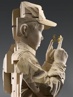"""Don't think twice it's all right"" by Gehard Demetz, wooden sculpture, 171 x 40 x 35 cm"
