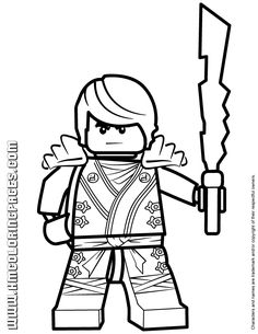 NINJAGO GO COLORS | Ninjago Cole KX Holding Elemental Weapon Coloring Page