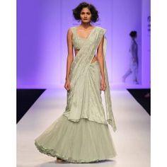 Embroidered Pale Green Lengha Sari