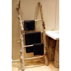 Porte-serviette échelle en bois flotté