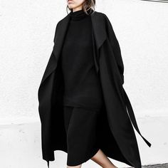 Ribbed knits + waterfall coats. ✖️ Limited numbers of the Latest Dress & Modern Coat left on www.themodernedit.com so be quick! Available in both black + grey. #BCxMODERNLEGACY #allblack #ootd