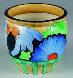 Image of a Susie Cooper flower pot. Circa 1920