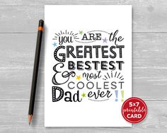 Printable Fathers Day Or Birthday Card For Dad