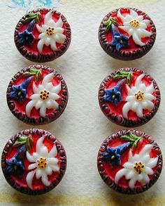 Six beautiful Czech glass, red, white and blue floral buttons from the 1920s...