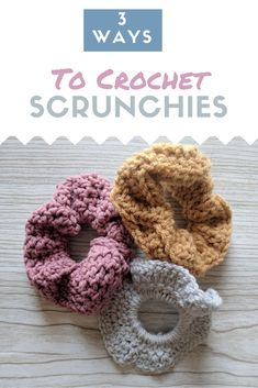 How to Crochet a Scrunchie 3 Ways. What a great stash-busting project! Spring time is all about those stash-busting projects! Scunchies are fun and flirty, perfect in all weather and fantastic stash busters. In this post, I've deta Crochet Simple, Crochet Diy, Crochet Ideas, Crochet Mandala, Double Crochet, Easy Things To Crochet, How To Crochet, Crochet Craft Fair, Quick Crochet Gifts