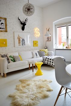 White Living Room With Yellow Accents Part 79