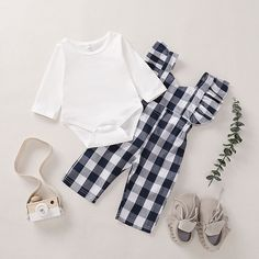 Baby / Toddler Solid Long-sleeve Bodysuit and Plaid Overalls Set Baby Girl Clothes baby Bodysuit LongSleeve Overalls Plaid set Solid Toddler Trendy Baby Clothes, Cute Baby Girl Outfits, Baby Outfits Newborn, Toddler Outfits, Kids Outfits, Cute Girls Clothes, Toddler Girls, Baby Girl Fashion, Kids Fashion