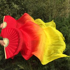 Free-shipping 1 pair New Belly Dance Bamboo ribs Silk Fan Veils hand-made dyes Dancing Fans hot-selling