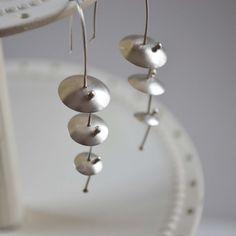 Umbrella earrings, argentium silver dangle earrings