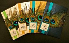 Double Peacock Feather Wedding Invitation with Rhinestone Embellishments. $7.95, via Etsy.