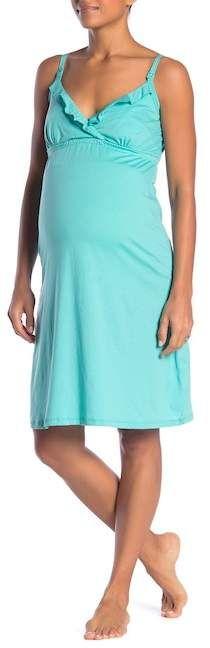 Belabumbum Ruffled Nursing Chemise (Maternity) | Stylish Maternity Clothes #ad