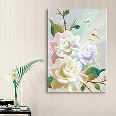 e-Home®+gestrekt+geleid+canvas+kunst+bloem+flash+effect+geleid+knipperende+glasvezel+afdruk+–+EUR+€+70.55