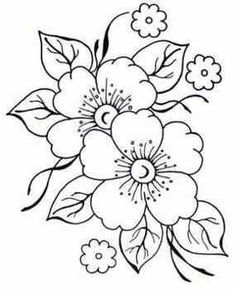 Hand Embroidery Patterns Flowers, Hand Embroidery Designs, Embroidery Stitches, Flower Embroidery, Flower Pattern Drawing, Flower Sketches, Flower Coloring Pages, Fabric Painting, Easy Drawings