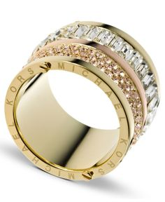 Michael Kors Ring, Gold Tone Pave and Stone Barrel Ring - Fashion Jewelry - Jewelry & Watches - Macy's