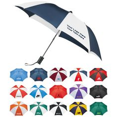 "Customized 42 Inch Arc Umbrellas: Available Colors: Navy/White, Green, Black, Black/White, Royal/White, Navy, Green/White, Black/Red, Purple/White, Red/White/Blue, Burgundy/White, Royal Blue, Navy/Yellow, Red, Orange/White, Red/White. Imprint Area: 6"" H x 6"" W. Product Size: 7"" x 19"" x 18"" Product Weight: 37.4 lbs. Packaging: 48. #customumbrella #promotionalproduct #rainyday"