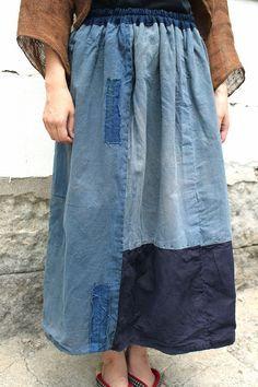 農婦シリーズインディゴストライプリバーシブルスカート裏地パッチワーク PANTS-238 by SASAKIYOHINTEN