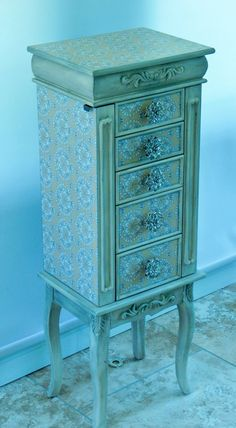 Multi Colored Repurposed Jewelry Armoire by funandfancydesigns