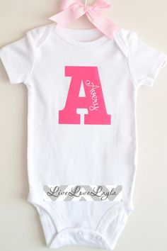 Girls Personalized Initial Onesie / Baby Bodysuit / Cute Onesie LONG SLEEVE AVAILABLE on Etsy, $13.50