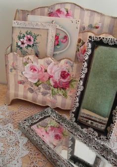 Nostalgia at the Stone House. I love the lace that's glued onto the plain old frames.