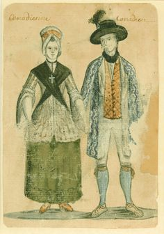 The latest men's and women's fashions in New France, circa 1749 Engraving and watercolour Artist unknown, circa 1750–1780 Archives de la Ville de Montréal,BM7, S2, SS1