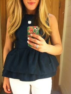 Navy peplum, white jeans, wedges
