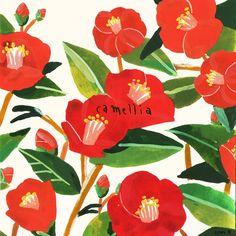 camellia on Behance Botanical Illustration, Cute Illustration, Marimekko Wallpaper, Graphic Wallpaper, Bohemian Art, Small Art, Gouache Painting, Camellia, Pictures To Draw