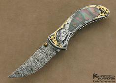 "Matthew Lerch Custom Knife Ray Cover Jr. Engraved Black Lip Tahitian Pearl Shell Interframe ""Richfield"" D/A Linerlock - Matthew Lerch custom knife - image 1"