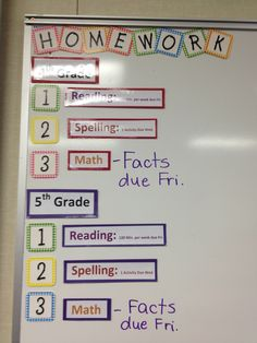 I make pre-made signs for my homework board and attach a magnet to the back. This would be good in a sped class with separate grades 4th Grade Classroom, Middle School Classroom, Classroom Setup, Classroom Displays, Future Classroom, School Fun, School Days, School Stuff, Classroom Organisation